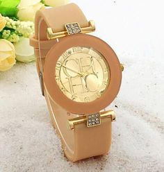 Fashion Brand Gold Geneva Casual Quartz Watch Women Crystal Silicone Watches Dress Wrist Watch
