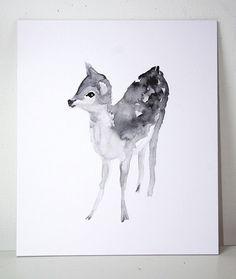 Fauve aquarelle et peinture à l'encre. Œuvre par Zendrawing sur Etsy
