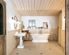 bathroom floor Bathroom Flooring, Bathtub, Home, Standing Bath, House, Bath Tub, Bathtubs, Homes, Houses