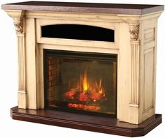 Amish Serenity Fireplace with Entertainment Center -- The handcrafted Amish Serenity Fireplace features gorgeous corbel detailing and the finest high quality hard woods. This heirloom-quality fireplace will endure generations of use and add timeless beaut