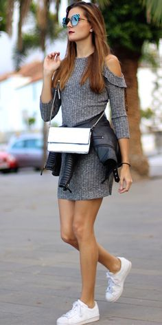 Grey Marled Knit Frill Trim Open Shoulder Dress