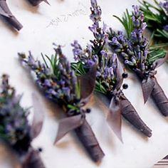 Boutonniere inspiration, perhaps? Add calla lily as well for Farshid? Lavender and rosemary boutonnieres - can add mini eggplant succulent in here for awesome bout for F Purple Wedding, Floral Wedding, Wedding Colors, Wedding Bouquets, Wedding Flowers, Wedding Buttonholes, Ribbon Wedding, Wisteria Wedding, Bridesmaid Bouquets