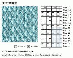 Knit and Purl. Knitting Chart. Seersucker stitch