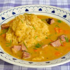 Traditional Newfoundland Pea Soup & Dough Boys - made with leftover ham or salt beef; a hearty local favourite that has warmed many a belly over the decades Pea And Ham Soup, Pea Soup, Rock Recipes, Great Recipes, Easy Recipes, Favorite Recipes, Potato Recipes, Healthy Recipes, Newfoundland Recipes