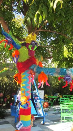 Yarn bombs decorated opening of Klyde Warren Park, Dallas.