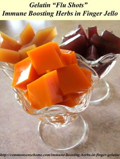 Flu Remedies Immune Boosting Herbs in Finger Gelatin - combine anti-viral and antibacterial herbs with fruit juice and honey for a healthier sweet treat. - A kid-friendly way to get the power of immune boosting herbs in your diet. Flu Remedies, Health Remedies, Holistic Remedies, Healthy Sweet Treats, Healthy Snacks, Natural Cures, Natural Health, Food Storage, Smoothies