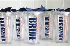 Will you be my bridesmaid?  Set of 7, Bridal Party Personalized Tumbler, Navy Wedding, Coral Wedding, Personalized Bridesmaid Tumblers