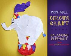 Printable Circus Craft: Balancing Elephant