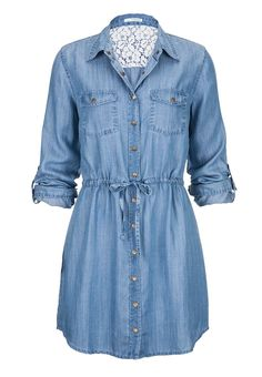 tie waist long denim shirt dress. Would be so cute with boots!