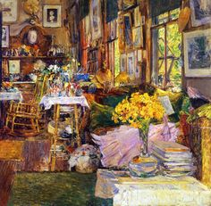 "حجرة الزهور - لشيلد هسام - عام ١٨٩٤ م""The Room of Flowers,"" Frederick Childe Hassam, 1894, oil on canvas, 34 x 34"", private collection. This is a view in Celia Thaxter's parlor on Appledore Island."