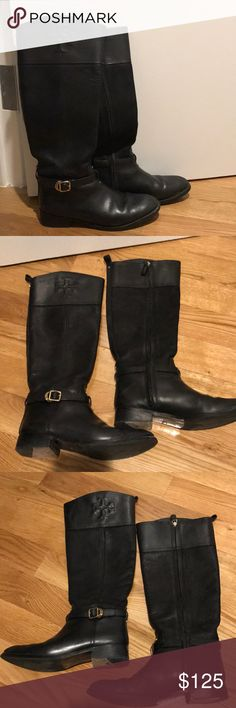 Tory Burch Black Suede/Leather Logo Riding Boots Gently worn, a few scuffs on front of boots. Planning to get them buffed to fix scratches. Gold accents. Fall right below the knee. Tory Burch Shoes