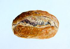 Original Realism, Painting of Bread, Gouache on Paper, 5 x 7 in. By Heather McCaw. $50.00, via Etsy.