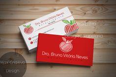 Cartão de Visita Vermelho + Maçã  Cartão Lindo Para Nutricionista