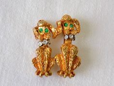 Poodle Partners with Rhinestone Collars & Green Eyes Pin Vintage by EyeSpyGoods on Etsy