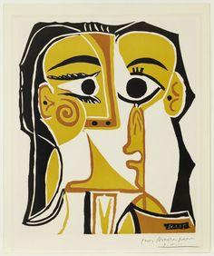Stylized Portrait of Jacqueline by Pablo Picasso, color linoleum cut, 1962 Kunst Picasso, Art Picasso, Picasso Prints, Georges Braque, Portrait Picasso, Most Famous Artists, Art Gallery, Art Abstrait, Art Plastique