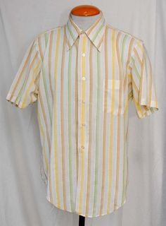 Men's 1960s Getaway by Arrow White, Green and Brown Striped Shirt