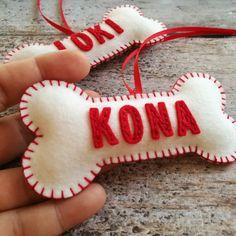 Christmas ornaments personalized dog bone