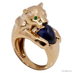 Cartier Panthere 18K gold and sapphire ring.  France, c. 1980s.