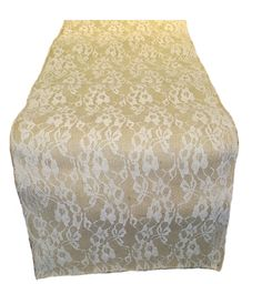 "14"" Burlap and Lace Table Runner with 14"" White Lace"