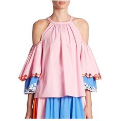 Peter Pilotto Embroidered Cotton Cold-Shoulder Blouse (58.535 RUB) ❤ liked on Polyvore featuring tops, blouses, light pink, embroidery top, embroidered cotton top, light pink top, cut out shoulder top and open shoulder blouse