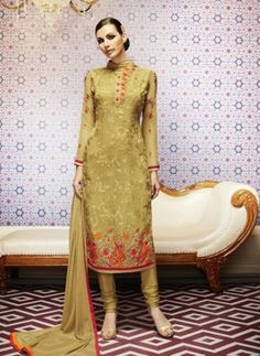 Party wear Indian Punjabi georgette suit in Mustard