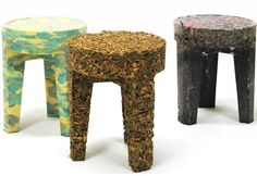 Chairs, carpets and blinds cleared from homes in the wake of deaths, divorces and bankruptcies form the raw material for these stools | by Dutch designer Joost Gehem