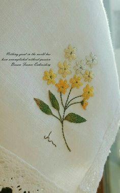 프랑스자수올리브린넨 - ☆부산프랑스자수..... : 카카오스토리 Basic Embroidery Stitches, Floral Embroidery, Cross Stitch Embroidery, Embroidery Patterns, Hand Embroidery, Sewing Patterns, Small Flower Design, Learning To Embroider, Decorative Towels