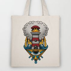 Lighthouse Tote Bag by hvelge - $18.00