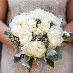Beautiful white bouquet with grey accents