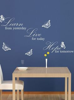 White 'Learn Live Hope' Quote Wall Decal