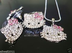5788d4dc4 Hello Kitty Fashion Ring Earring Necklace set Crystal Rhinestone Hello  Kitty Jewelry, Ring Earrings,