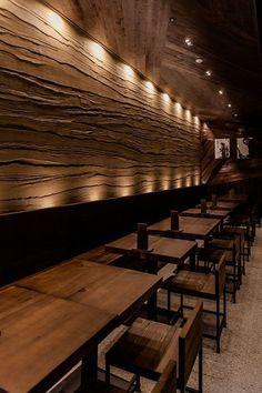restaurant window restaurant design Kinka izakaya restaurant in seoul. Rustic Restaurant Interior, Japanese Restaurant Interior, Japanese Restaurant Design, Decoration Restaurant, Woods Restaurant, Deco Restaurant, Restaurant Lighting, Restaurant Counter, Pub Decor
