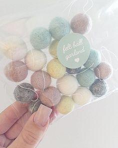 Neutral Pastel Felt Ball Garland Unisex Nursery New Baby