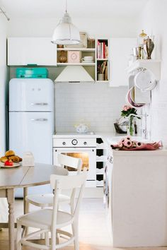 Tones likes seafoam, lavender, baby blue, and soft pink may seem like unusual choices for a kitchen, but in the hands of the right designer they can be absolutely divine
