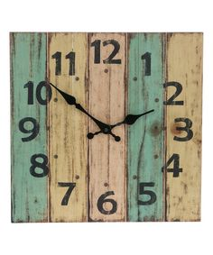 This Square Plank Wall Clock by GANZ is perfect! #zulilyfinds