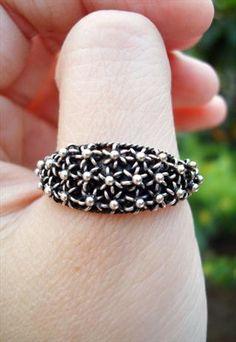 sterling silver starry night ring