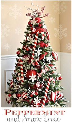 Learn how to create this Peppermint Christmas Tree in no time! Also shows you how to add snow to an artificial tree! Learn how to create this Peppermint Christmas Tree in no time! Also shows you how to add snow to an artificial tree! Christmas Tree With Snow, Candy Cane Christmas Tree, Gold Christmas Decorations, Beautiful Christmas Trees, Black Christmas, Noel Christmas, Christmas Themes, Xmas Trees, Christmas 2019