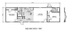 Floorplan of The Aria, a 2 Bed 2 Bath 858 sq ft 16x60  Manufactured Home featuring an open floor plan, dual sinks, and optional portable island.