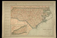 North Carolina Map Railroad Antique Original Detailed
