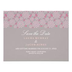 Grauer u. rosa Frühling Blumenwedding Save the Einladungen