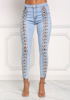 Light Denim Front Lace Up Skinny Jeans - New Ripped Jeggings, Ripped Skinny Jeans, Light Denim, Denim Fashion, Fashion Pants, Moda Jeans, Beste Jeans, Best Jeans For Women, Olive Jeans