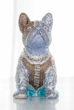French Bruno by J. French Bulldog, Swarovski, Perfume Bottles, Butterfly, Bling, Sculpture, Crystals, Roses Garden, Bulldog Breeds