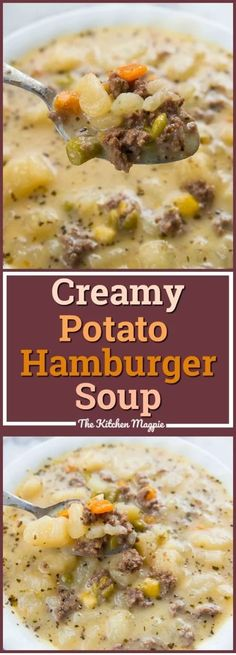 Cooking Delicious - This Creamy Potato & Hamburger Soup is comfort food at it's most delicious! Hamburger, potatoes & vegetables all combine to make one great soup. Healthy Slow Cooker, Slow Cooker Beef, Slow Cooker Recipes, Crockpot Recipes, Chili Recipes, Healthy Soup Recipes, Vegetarian Recipes, Vegetarian Soup, Potato Recipes