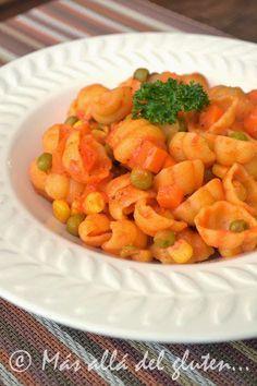Más allá del gluten...: Pastas con Verduras (Receta GFCFSF, Vegana)