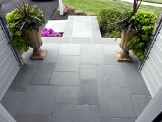 How To Transform Your Cracked Concrete Steps Into A Warm Welcoming Entryway : updating front entrance with flagstone, concrete masonry, curb appeal, landscape, stairs Concrete Front Steps, Front Porch Steps, Concrete Porch, Front Walkway, Front Door Entrance, Flagstone Patio, Front Entrances, Front Porches, Front Entry