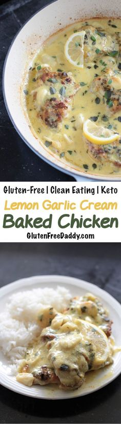 I love the rich, creaminess of this gluten-free baked chicken recipe and how it gets a deep, roasted sweet flavor. The best part? Smashing a whole garlic with my fork and mixing it in the lemon basil cream sauce. This doesn't last long!