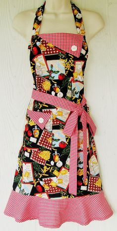 Retro Apron Italian Cooking Apron Women's Full by KitschNStyle