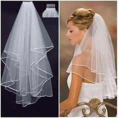 2016 Hot Fashion White/Ivory Two Layers Bridal Veil Wedding Accessories Ribbon Edge Women Marriage Dress Veils Short  With Comb