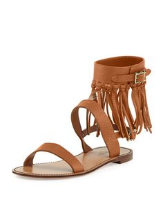 Illusion Fringe Ankle-Wrap Sandal, Light Cuir by Valentino at Neiman Marcus.