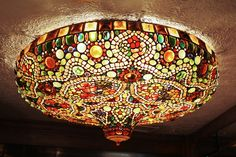 Early 1970s Art Nouveau-Style Tiffany Glass Hanging Lamp…
